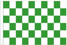 Green And White Check 5' x 3' Larger Sleeved Flag